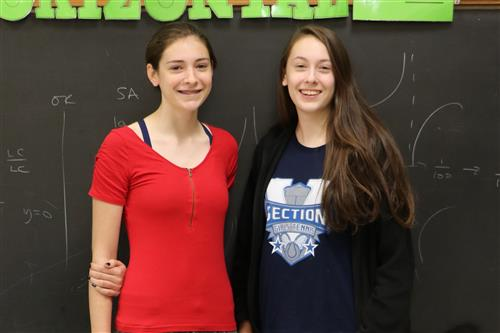 Lauren and Abby Kelly take 2nd and 3rd place in the Nevins Math Scholarship Contest.