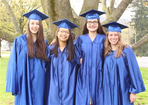 Co-Valedictorians Abby and Caroline with Co-Salutatorians Mikaela and Hanna